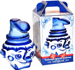 Конфуций. Самовар кобальт 50 гр. чайница керам.