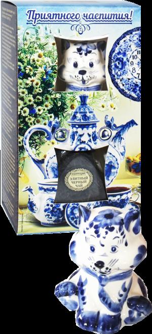 Конфуций. Элитный чай + сувенир Кошка 60 гр. чайница керам.
